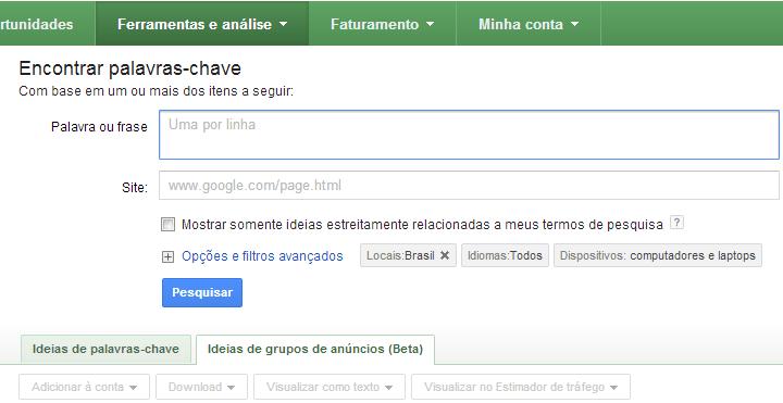 Palavras-chave no Google Adwords
