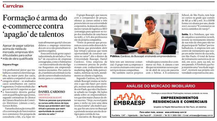 Daniel Cardoso é destaque no jornal  O ESTADO DE S. PAULO desta quinta-feira.