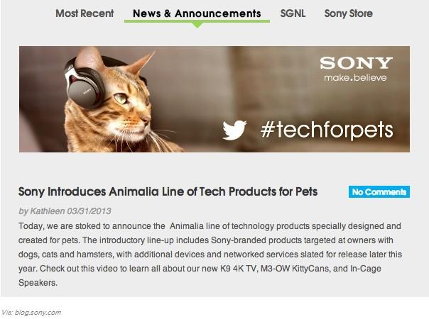 Fone de ouvido Sony para gatos
