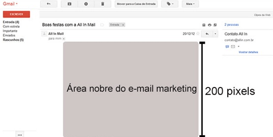 área nobre do e-mail marketing