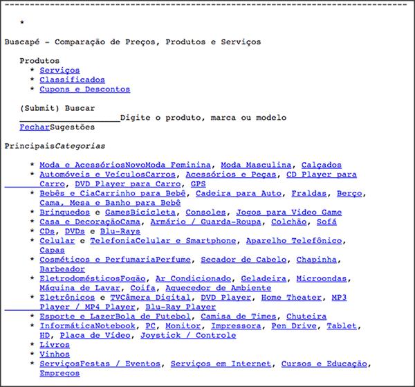 Como o Google Funciona. Exemplo da mesma página do buscape.com.br vista pelo lynx