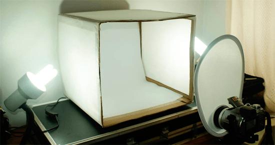 Exemplo de mesa para still com dois pontos de luz laterais
