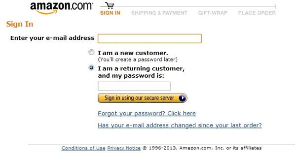 Reduzir perdas no funil de compra - Amazon.com, opção para preencher e-mail e escolher a opção de cliente ou não-cliente.