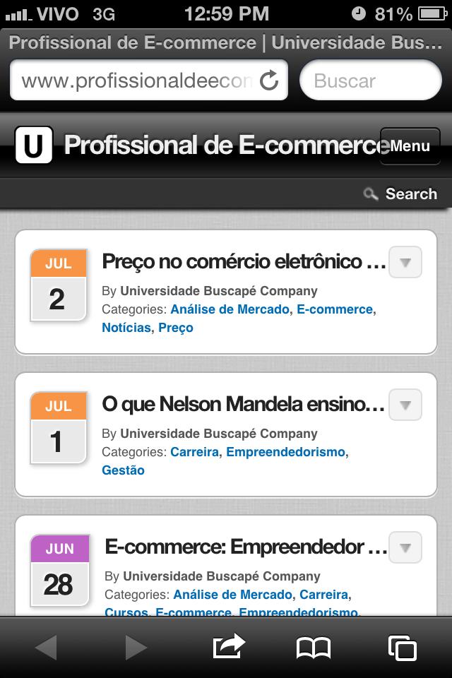 Versão mobile do Blog Profissional de E-commerce