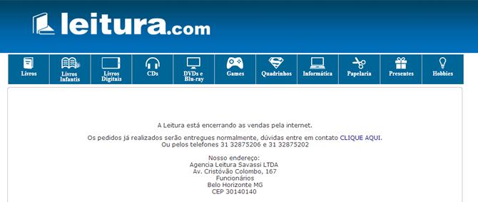 Leitura atuou por 13 anos no E-commerce - Livraria Leitura engrossa lista de lojas virtuais que fecharam