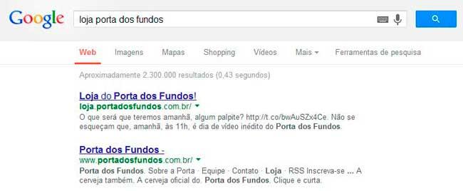 """Print da pesquisa """"Loja Porta dos Fundos"""" no Google dia 28/09/2013."""