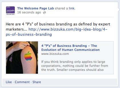 Link-share com uma imagem menor que o tamanho recomendado.