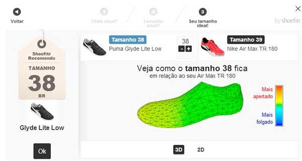 Shoefitr, ferramenta que analisa o tamanho ideal para a compra de um calçado na Netshoes, tendo como base um outro modelo, numeração e como calça em seus pés.