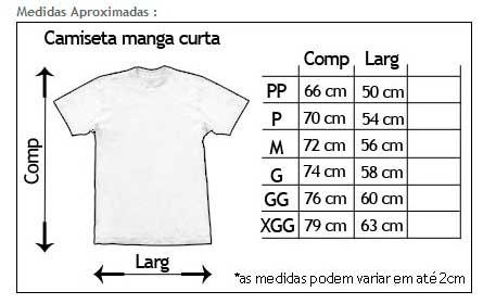 Tabela de medidas aproximadas na descrição de camisetas com estampas de bandas – De modo simples, fornece informações vitais para a aquisição da vestimenta.