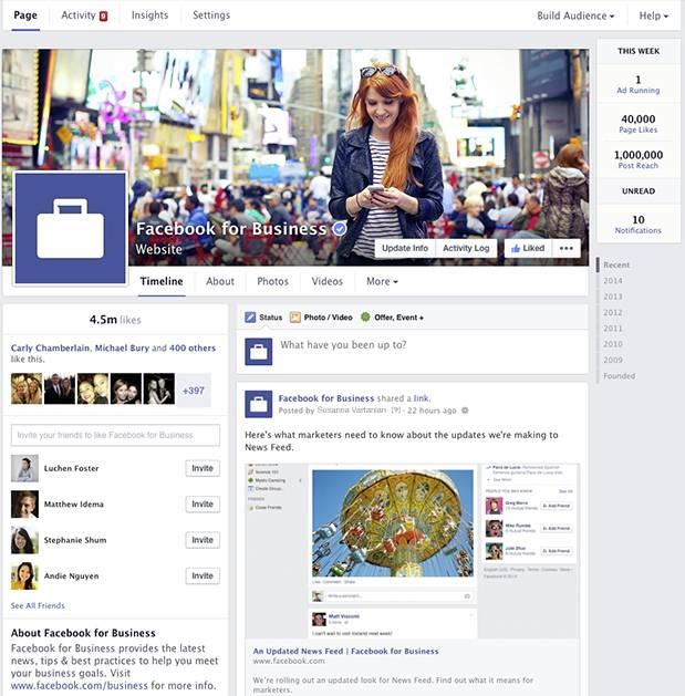 Novo layout da página de empresa no Facebook