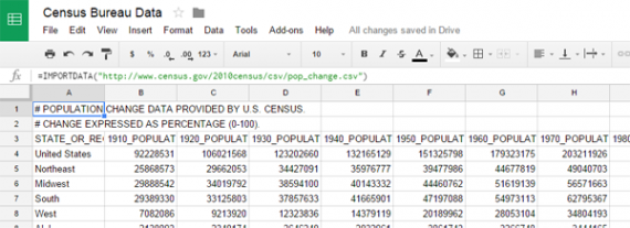 Puxar dados de arquivos.CVS e .TSV é fácil com a função IMPORTDATA.