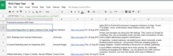O Google Planilhas pode servir como um leitor de RSS. Coletando os artigos de um feed.