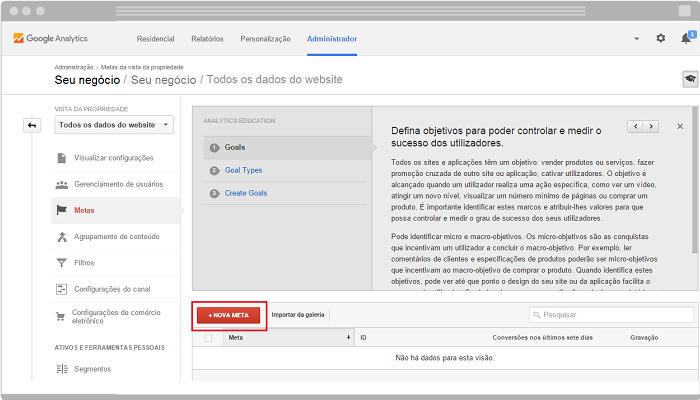 Como configurar meta e funil no Google Analytics 2