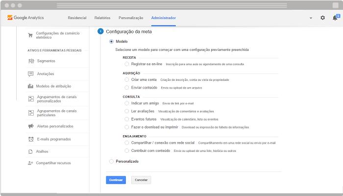Como configurar meta e funil no Google Analytics 3