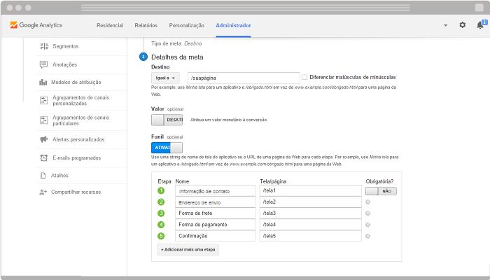 Como configurar meta e funil no Google Analytics 42