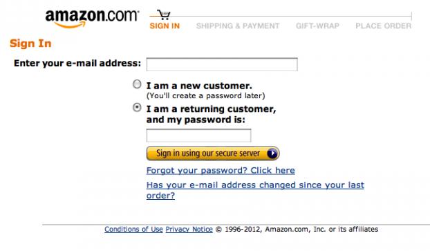 Tela do início do processo de checkout da Amazon. Nenhuma distração, apenas links de suporte.