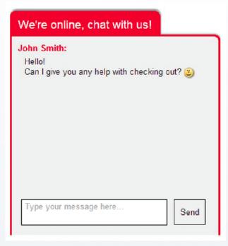 Chat de suporte ao processo de check out.