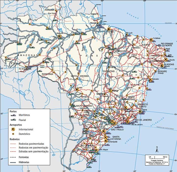 Mapa Redes de transporte no Brasil em 2017. Fonte: IBGE.