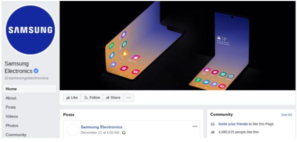 Samsung nas redes sociais